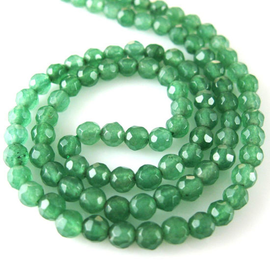 Wholesale Green Jade Beads - 4mm Faceted Round (Sold Per Strand)