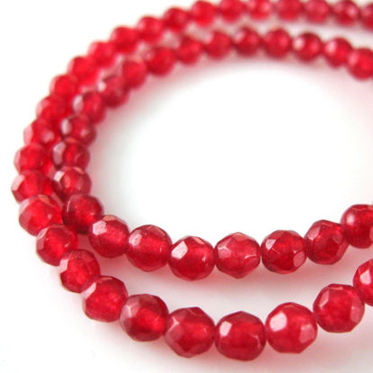 Wholesale Red Jade Beads - 4mm Faceted Round 4mm (Sold Per Strand)
