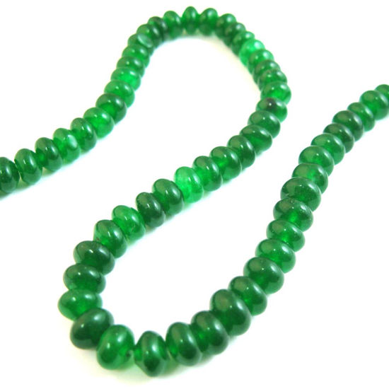 Wholesale Green Jade Beads - Smooth Rondelle 6x4mm (Sold Per Strand)