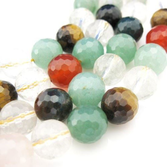 Wholesale Natural Multi-Stone Gemstone Beads - 10mm Faceted Round (Sold Per Strand)