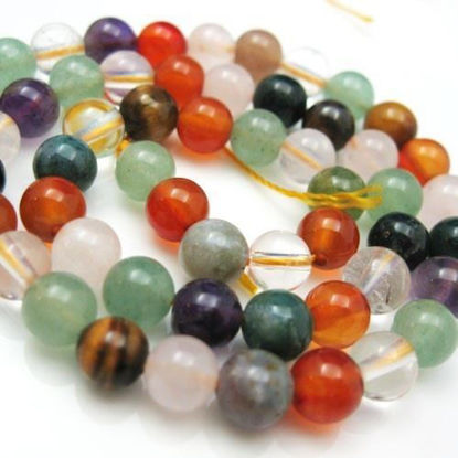 Wholesale Natural Multi-Stone Gemstone Beads - 6mm Smooth Round (Sold Per Strand)