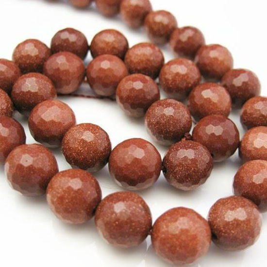 Wholesale Sparkle Brown Goldstone Beads - 10mm Faceted Round (Sold Per Strand)