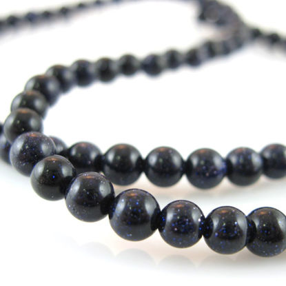 Wholesale Sparkle Blue Goldstone Beads - Smooth Round 4mm (Sold Per Strand)