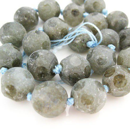 Wholesale Labradorite Beads - 14mm Matte Faceted Round (Sold Per Strand)