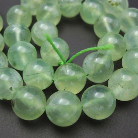 Wholesale Prehnite Beads - Nature Stone - Smooth Round 10mm (Sold Per Half Strand)