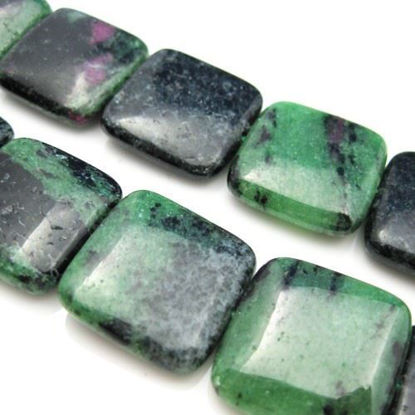 Wholesale Ruby Zoisite Beads - 20mm Smooth Square Shape (Sold Per Strand)