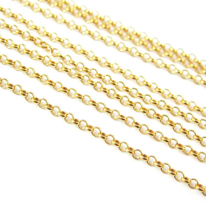 Wholesale Chain, Gold plated Sterling Silver Vermeil 1mm Rolo Chain, Bulk Chain by the foot