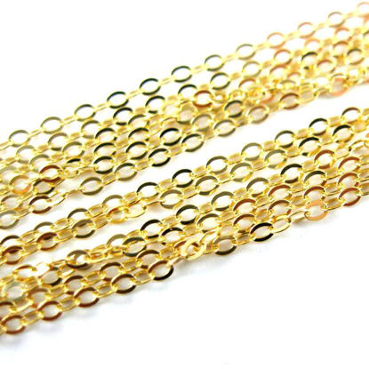 Wholesale Chain, Gold plated Sterling Silver Vermeil Thick Flat Cable Oval Chain 1.8 by 1.2mm Bulk Chain by the foot
