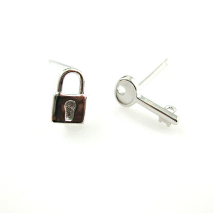 Wholesale Rhodium plated Sterling Silver Lock and KeyEarring Studs for Jewelry Making, Wholesale Earwire and Findings
