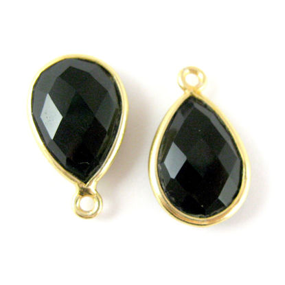Wholesale Gold plated Sterling Silver Small Teardrop Bezel Black Onyx Gemstone Pendant, Wholesale Gemstone Pendants for Jewelry Making