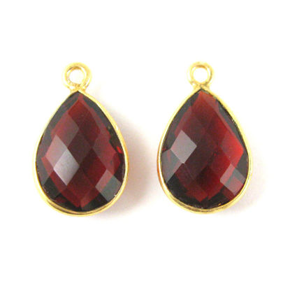 Wholesale Gold plated Sterling Silver Small Teardrop Bezel Garnet Quartz Gemstone Pendant, Wholesale Gemstone Pendants for Jewelry Making