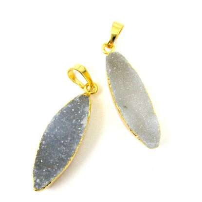 Wholesale Druzy Agate Geode Marquis Bar Pendant, Gold Dipped Edging, Geode Bar Pendant, Druzzy Leaf Agate- Almond Shape - White Druzy