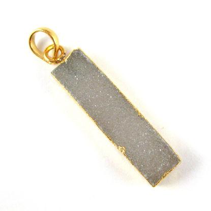 Wholesale Druzy Gemstone Grey Agate Thin Bar Gold Pendant  Wholesale Pendants for Jewelry Making