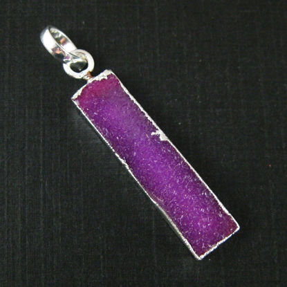 Wholesale Druzy Gemstone Pink Agate Thin Bar Silver Pendant  Wholesale Pendants for Jewelry Making