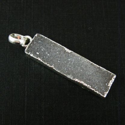 Wholesale Druzy Gemstone Grey Agate Thin Bar Silver Pendant  Wholesale Pendants for Jewelry Making