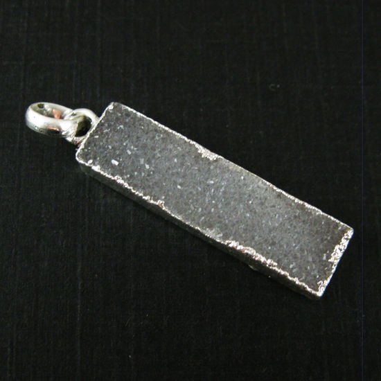Wholesale Druzy Gemstone Grey Agate Thin Bar Silver Pendant  Wholesale Pendants for Jewelry Making
