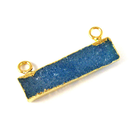 Wholesale Druzy Gemstone Blue Agate Thin Bar Gold Connector Pendant  Wholesale Pendants for Jewelry Making