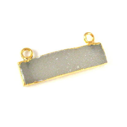 Wholesale Druzy Gemstone Grey Agate Thin Bar Gold Connector Pendant  Wholesale Pendants for Jewelry Making