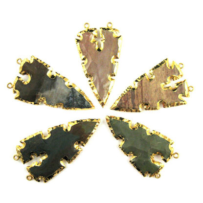 Wholesale Nature Agate Jasper Spear Pendant, Jagged Spear Shaped Pendant with 24K Gold Dipped Edging-Assorted Stone Color- 60mm