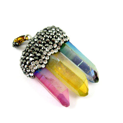 Wholesale Natural Aura Quartz Tri Crystal Pave Pendant - Tri Pendulum Spike Pendant - Yellow, Pink and Purple Crystals- 40mm