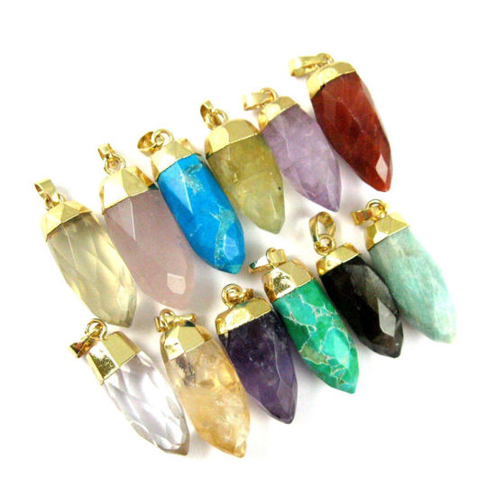 Wholesale Gemstone Spike Pendant, Faceted Druzy Spike Pendant, Turquoise Pendant with Gold plated Bail- 30mm