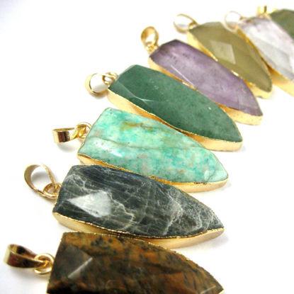 Wholesale Gold Plated Faceted Arrowhead Pendant-Arrowhead charm-Natural Gemstone Spike Pendant Green Jade- 40mm
