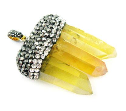Wholesale Natural Aura Quartz Tri Crystal Pave Pendant - Tri Pendulum Spike Pendant - Yellow Crystal- 45mm