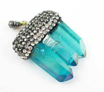 Wholesale Natural Aura Quartz Tri Crystal Pave Pendant - Tri Pendulum Spike Pendant - Teal Crystal- 45m