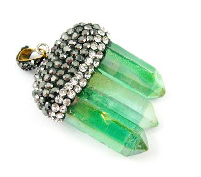 Wholesale Natural Aura Quartz Tri Crystal Pave Pendant - Tri Pendulum Spike Pendant - Green Crystal- 45m