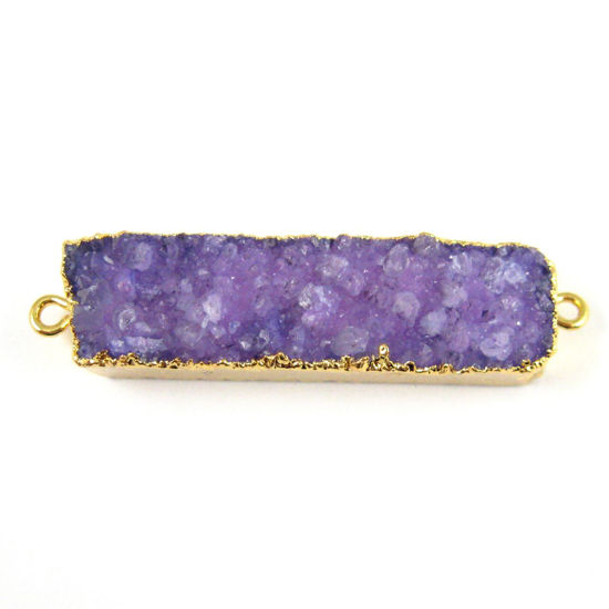 Wholesale Druzy Bar Connector Pendant,Purple Druzy Agate Bar- Side Rings- Gold plated Brass Edge and Bail -41mm