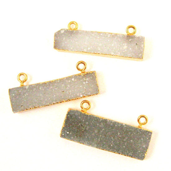 Wholesale Natural Druzy Agate Bar Pendant, Gold dipped Bar, Medium Grey Agate Geode Bar Connector,Drusy Agate, Long Bar 36mm