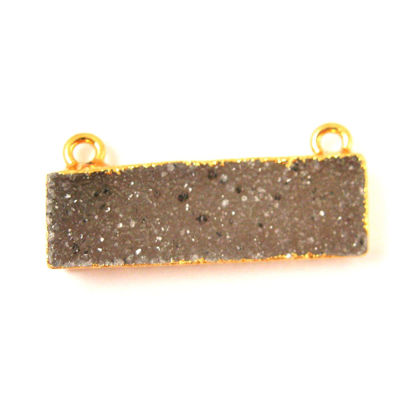 Wholesale Natural Druzy Speckled Agate Geode Bar Pendant, Gold plated Bar, Dark Grey Druzy Bar Connector,Rectangle Bar Charm Pendant