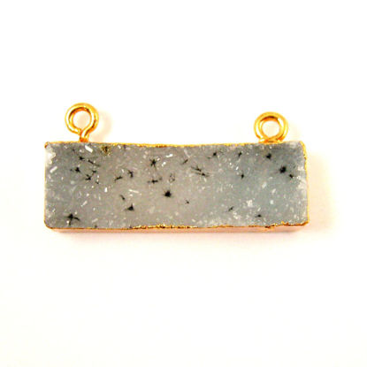 Wholesale Natural Druzy Speckled Agate Geode Bar Pendant, Gold plated Bar, Grey Druzy Bar Connector,Rectangle Bar Charm Pendant