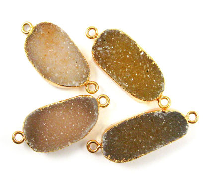 Wholesale Druzy Gemstone Speckled Ginger Agate Oval Bar Gold Connector Pendant  Wholesale Pendants for Jewelry Making