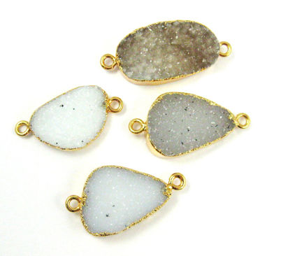 Wholesale Natural Druzy Grey Speckled Agate Bar Pendant, 24K Gold plated Organic Oval,Druzy Necklace Pendant