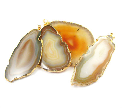 Wholesale Agate Slice Pendant, Huge Pendant, Natural Agate Organic Oval Shape Pendant Gold Edging and Bail, Unique Original Natural Color