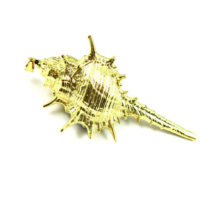 Wholesale Gold Spike Pendant,Natural Cabrits Murex Pendant, Gold plated Large Shell Pendant