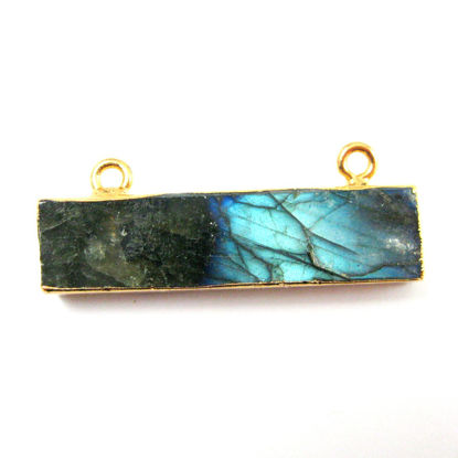 Wholesale Labradorite Bar Connector, Short Bar Pendant, Nature Stone Gold plated, Gold Dipped, Top Ring Labradorite Connector with Top Rings
