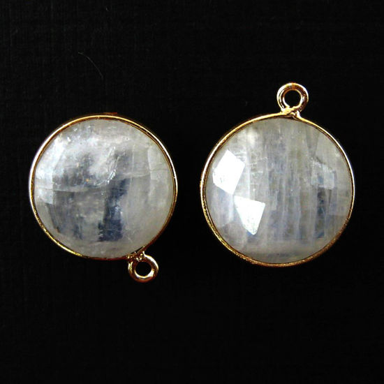 Wholesale Gold plated Sterling Silver Round Bezel Moonstone Gemstone Pendant, Wholesale Gemstone Pendants for Jewelry Making