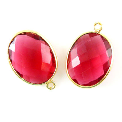 Wholesale Gold plated Sterling Silver Oval Bezel Rubylite Quartz Gemstone Pendant, Wholesale Gemstone Pendants for Jewelry Making