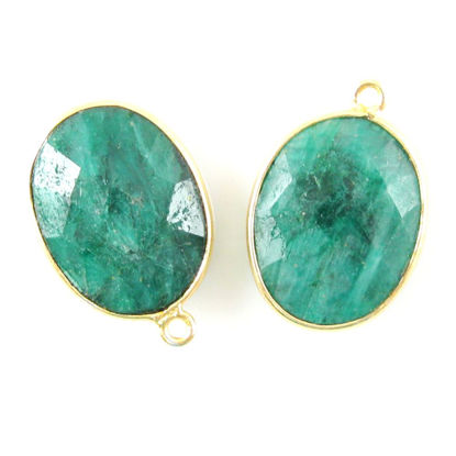 Wholesale Gold plated Sterling Silver Oval Bezel Dyed Emerald Gemstone Pendant, Wholesale Gemstone Pendants for Jewelry Making