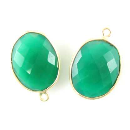 Wholesale Gold plated Sterling Silver Oval Bezel Green Onyx  Gemstone Pendant, Wholesale Gemstone Pendants for Jewelry Making