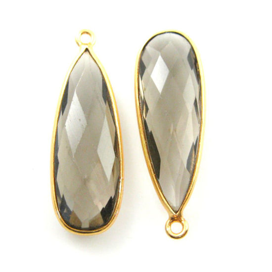 Wholesale Gold plated Sterling Silver Elongated Teardrop Bezel Smokey Quartz Gemstone Pendant, Wholesale Gemstone Pendants for Jewelry Making