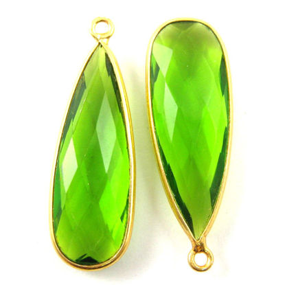 Wholesale Gold plated Sterling Silver Elongated Teardrop Bezel Peridot Quartz Gemstone Pendant, Wholesale Gemstone Pendants for Jewelry Making