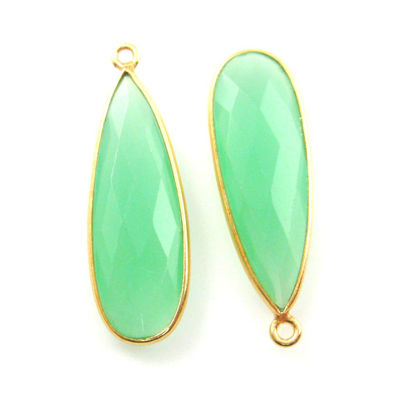 Wholesale Gold plated Sterling Silver Elongated Teardrop Bezel Prehnite Chalcedony Gemstone Pendant, Wholesale Gemstone Pendants for Jewelry Making