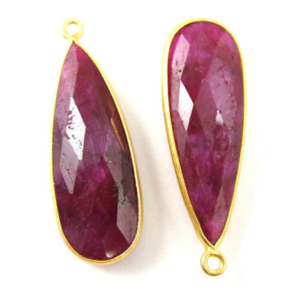 Wholesale Gold plated Sterling Silver Elongated Teardrop Bezel Ruby Dyed Gemstone Pendant, Wholesale Gemstone Pendants for Jewelry Making