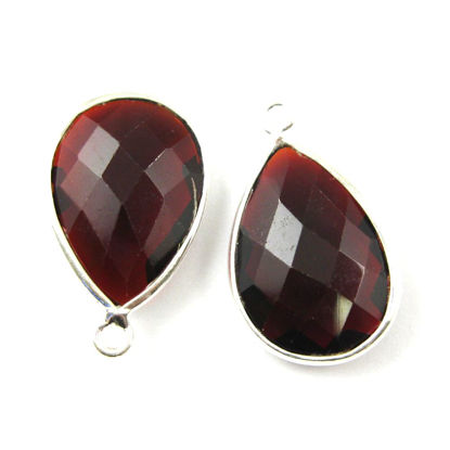 Wholesale Sterling Silver Teardrop Bezel Garnet Quart Gemstone Pendant, Wholesale Gemstone Pendants for Jewelry Making