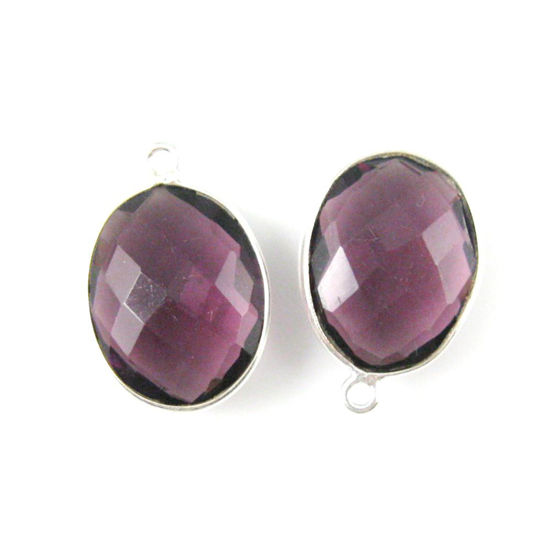 Wholesale Sterling Silver Oval Bezel Amethyst Quartz Gemstone Pendant, Wholesale Gemstone Pendants for Jewelry Making