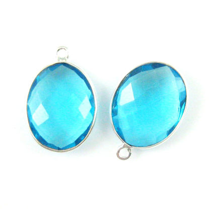 Wholesale Sterling Silver Oval Bezel Blue Topaz Quartz Gemstone Pendant, Wholesale Gemstone Pendants for Jewelry Making