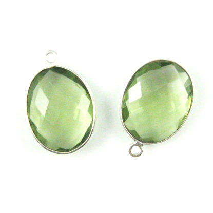 Wholesale Sterling Silver Oval Bezel Green Amethyst Quartz Gemstone Pendant, Wholesale Gemstone Pendants for Jewelry Making